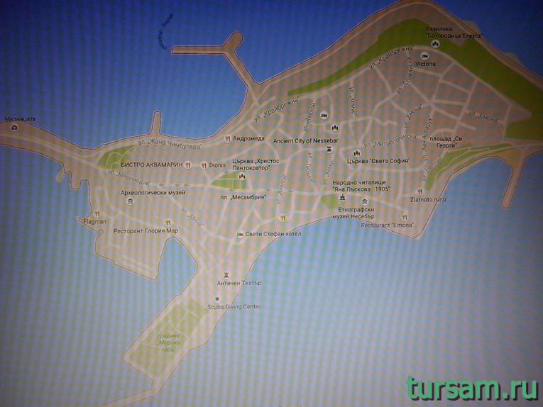 Карта достопримечательностей, находящихся в старой части Несебра