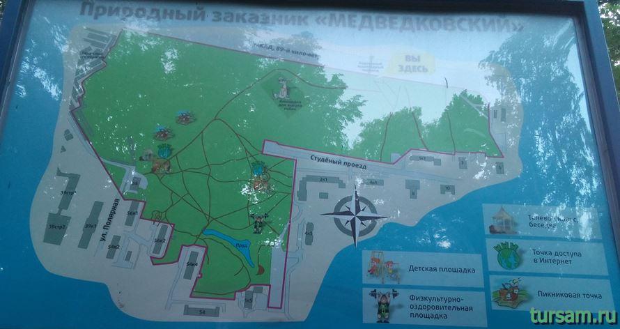 Карта природного заказника Медведковский