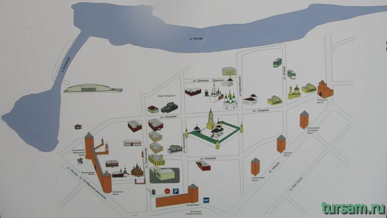 Карта (схема) Коломенского кремля