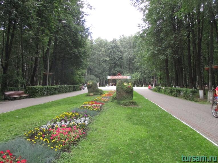 Клумба в парке имени М.И. Калинина в городе Королев