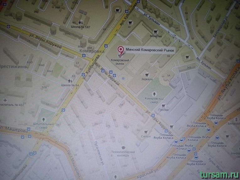 Расположение Комаровского рынка на карте