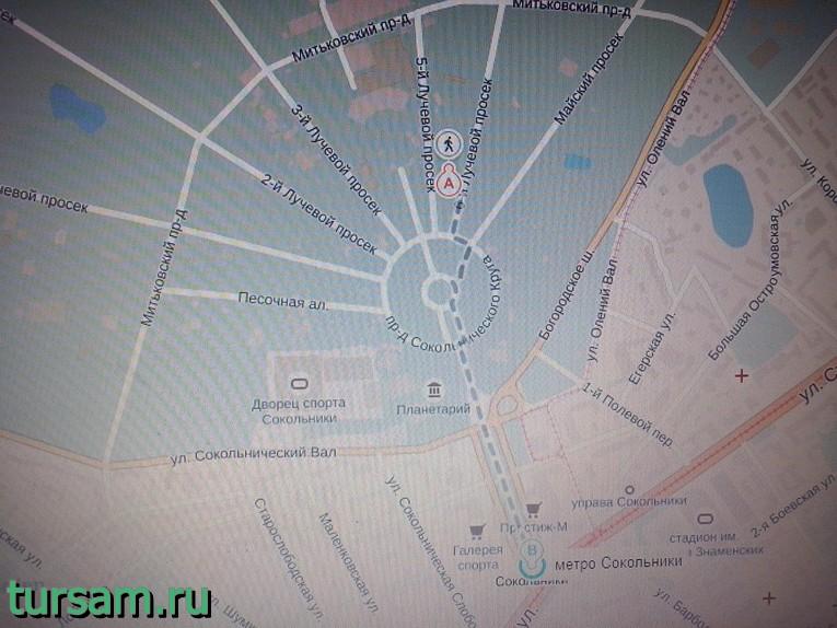 Малый розарий парка «Сокольники» на карте Москвы