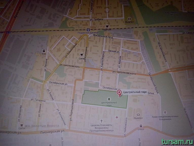 Месторасположение парка имени М.И. Калинина на карте города Королев