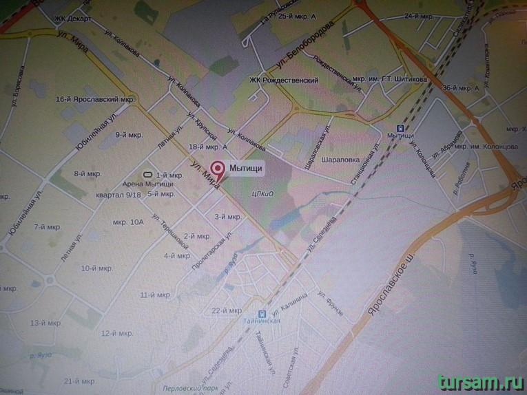 Мытищинский парк на карте города Мытищи
