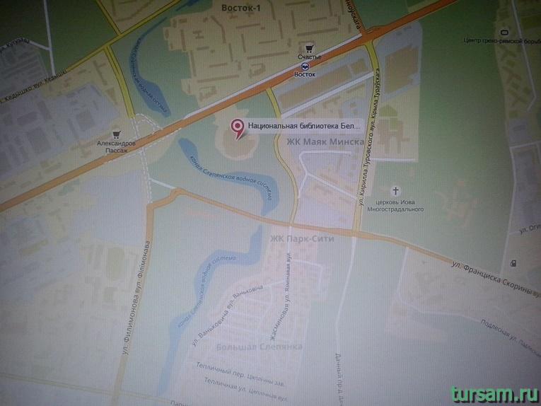 Национальная библиотека на карте