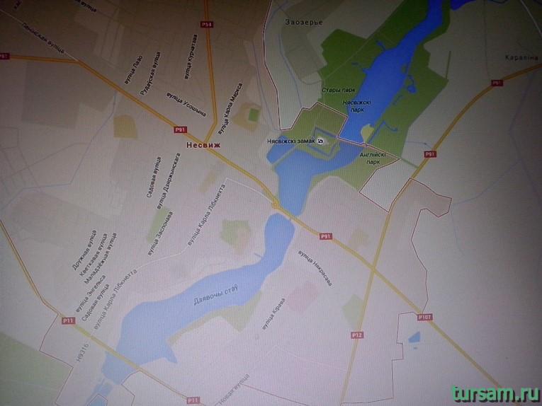 Несвижский замок на карте