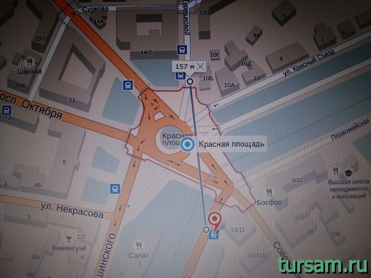 """Остановка """"Красная площадь"""" автобусов номер 21к и 21 в Ярославле"""
