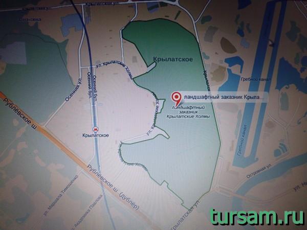 Парк Крылатские холмы на карте Москвы