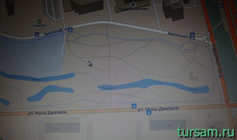 Парк рядом с метро Борисово на карте Москвы