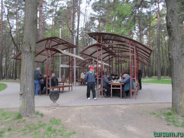 Площадка для любителей шахмат и шашек в парке имени Челюскинцев