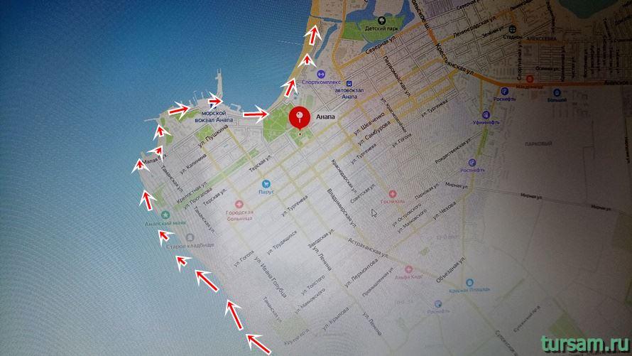 Расположение на карте набережной Анапы