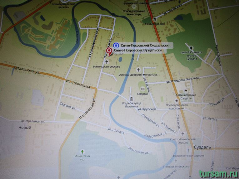 Раположение Свято-Покровского женского монастыря на карте города Суздаль