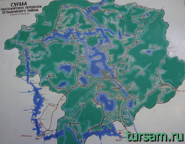 Схема пассажирских перевозок Осташковского района