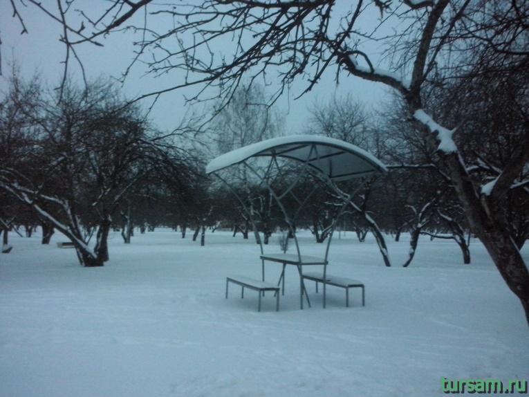 Стол с лавочками под навесом среди деревьев в парке Ангарские пруды