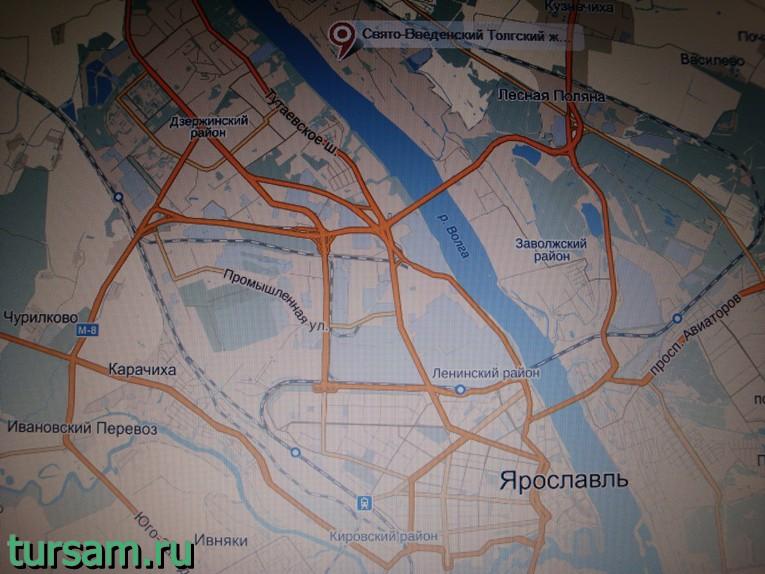 Толгский монастырь на карте Ярославля